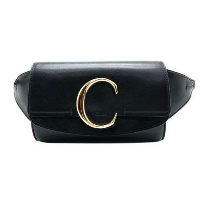 滑面牛皮C logo 腰包(黑)