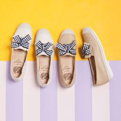 Soft Power 軟實力 格紋結飾草編樂福懶人鞋