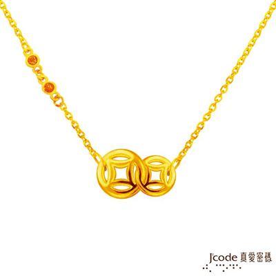 發財古錢黃金項鍊-立體硬金款