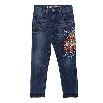 彫虎刺繡牛仔褲