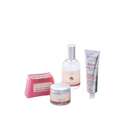玫瑰晶露+玫瑰晚霜+玫瑰臉部活膚乳+玫瑰小黃瓜手工皂