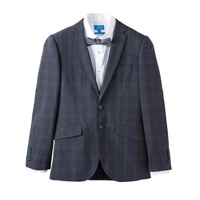 透氣格紋成套西服2件組(西裝+西褲)