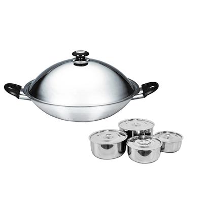 五層複合金炒鍋40CM 贈304不鏽鋼調理鍋4入組