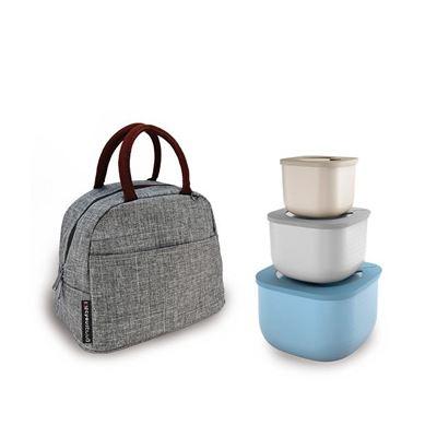 義大利原裝Guzzini萬用高身密封保鮮盒3入組 贈保冷提袋