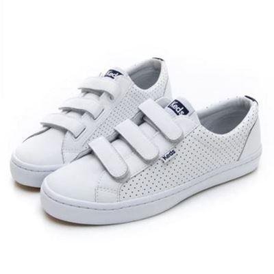 女款白色魔鬼氈休閒鞋