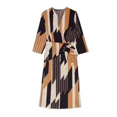 幾何方格綁帶洋裝