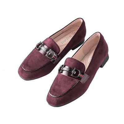 麂皮釦飾樂福鞋