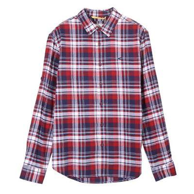 男款駝紅格紋襯衫