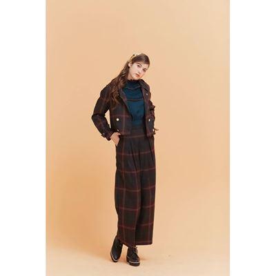 復古格紋短版雙排外套