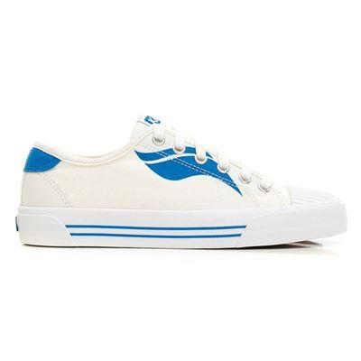 女款CREW KICK 撞色Logo綁帶帆布鞋-藍