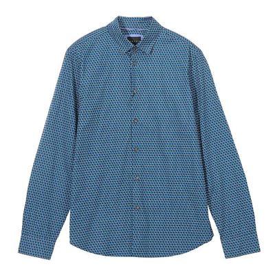 男款湖水藍幾何襯衫