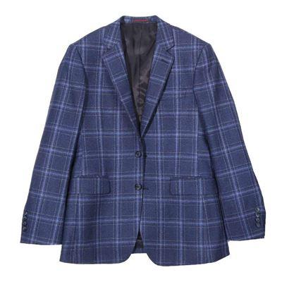 男款藍格紋獵裝外套