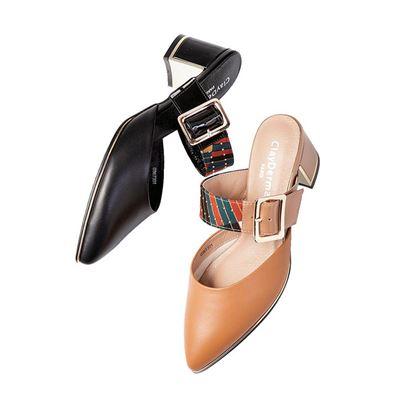 Clay Derman釦飾粗跟鞋