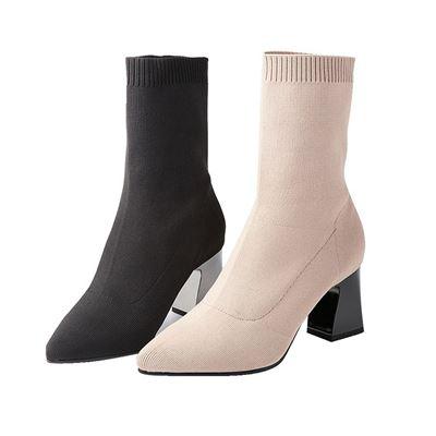 彈力針織中統高跟襪靴