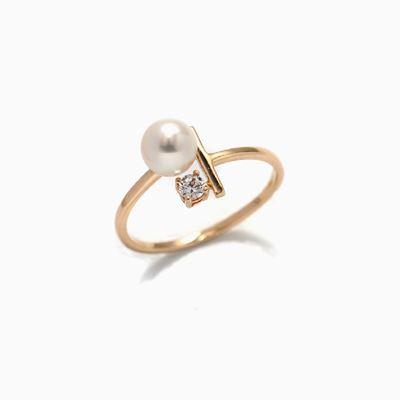 星月系列 天然珍珠K金戒指
