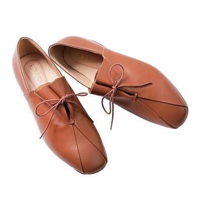 時髦方頭舒壓綁帶小牛皮粗跟鞋
