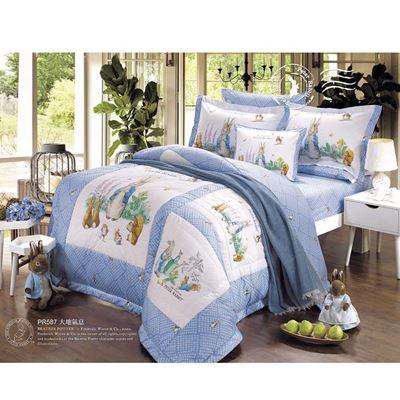 精梳棉7件式兩用被雙人床包組-大地氣息 贈披毯1件