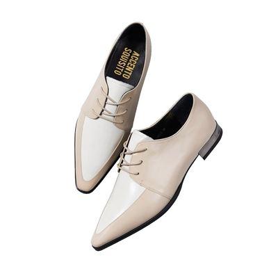 開邊珠牛皮綁帶尖頭低跟鞋