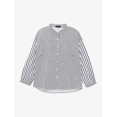 異條紋拼接排釦襯衫