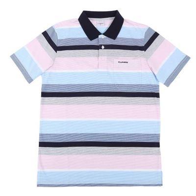 男款條紋短袖POLO衫