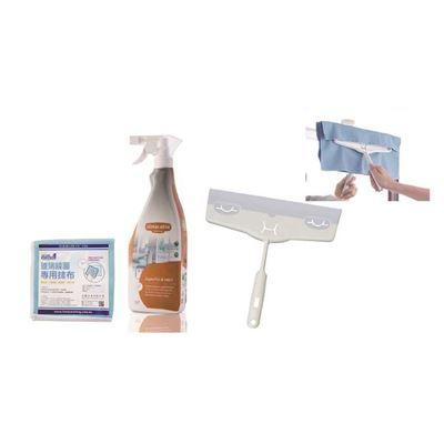 EF多角度彈力刮水板+有機玻璃清潔噴霧 贈專用抹布
