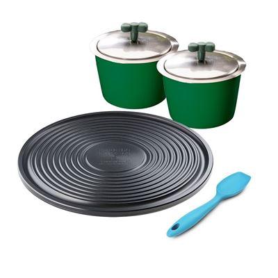 獵人綠Mini Pan*2 贈炙燒烤盤潔能板+炫彩攪拌平匙