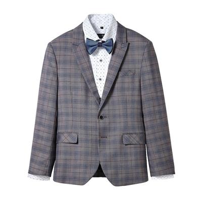 棕藍格紋成套西服4件組(西裝+西褲+襯衫+領結)