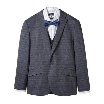 灰紋假兩件成套西服(西裝+西褲,不含襯衫、領結)
