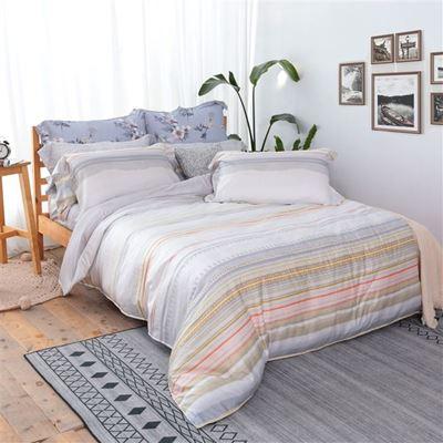 極潤天絲棉4件式兩用被雙人床包組 贈獨立筒枕1對