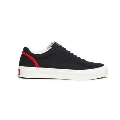 男款Cruiser日系帆布鞋-黑紅色