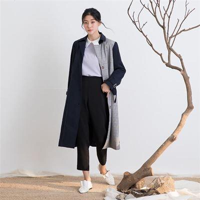 個性拼接格紋風衣外套(2色)