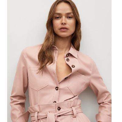 粉色皮革襯衫
