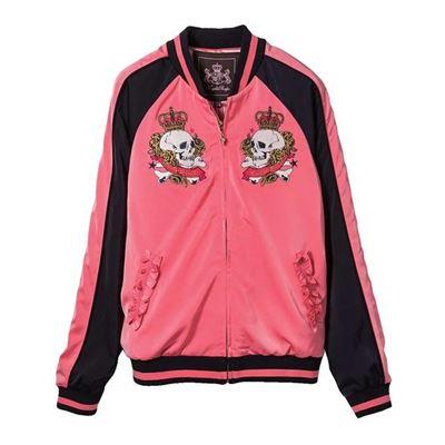 玫瑰骷顱繡花夾克外套