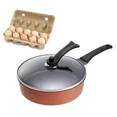 圓形條紋平底鍋28cm(古銅金)+有機伊莎蛋1盒