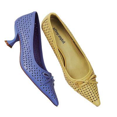 尖頭花紋蝴蝶結跟鞋