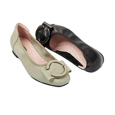 釦飾編織紋平底包鞋