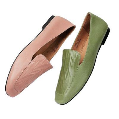 皮革壓紋平底鞋